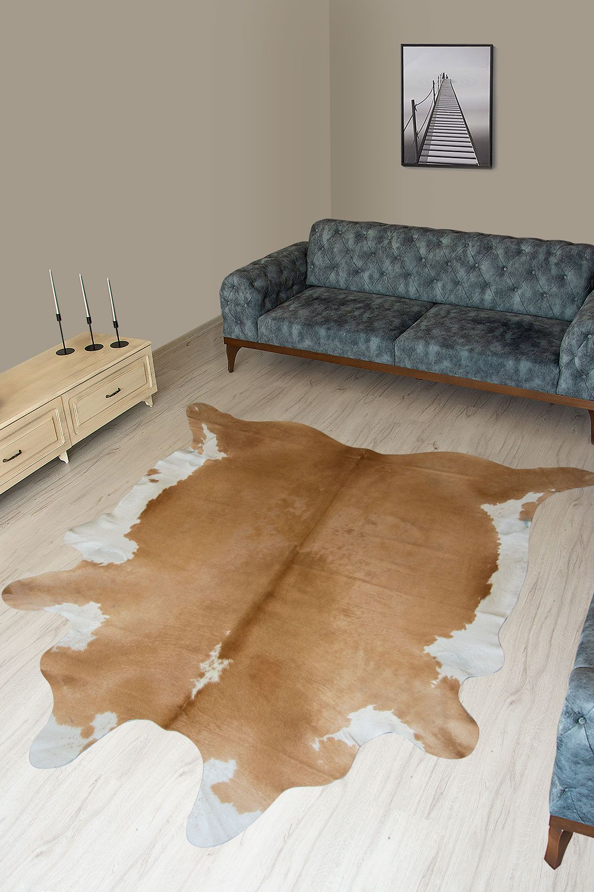 Pegia Genuine Cowhide Leather Carpet FST078 Natural