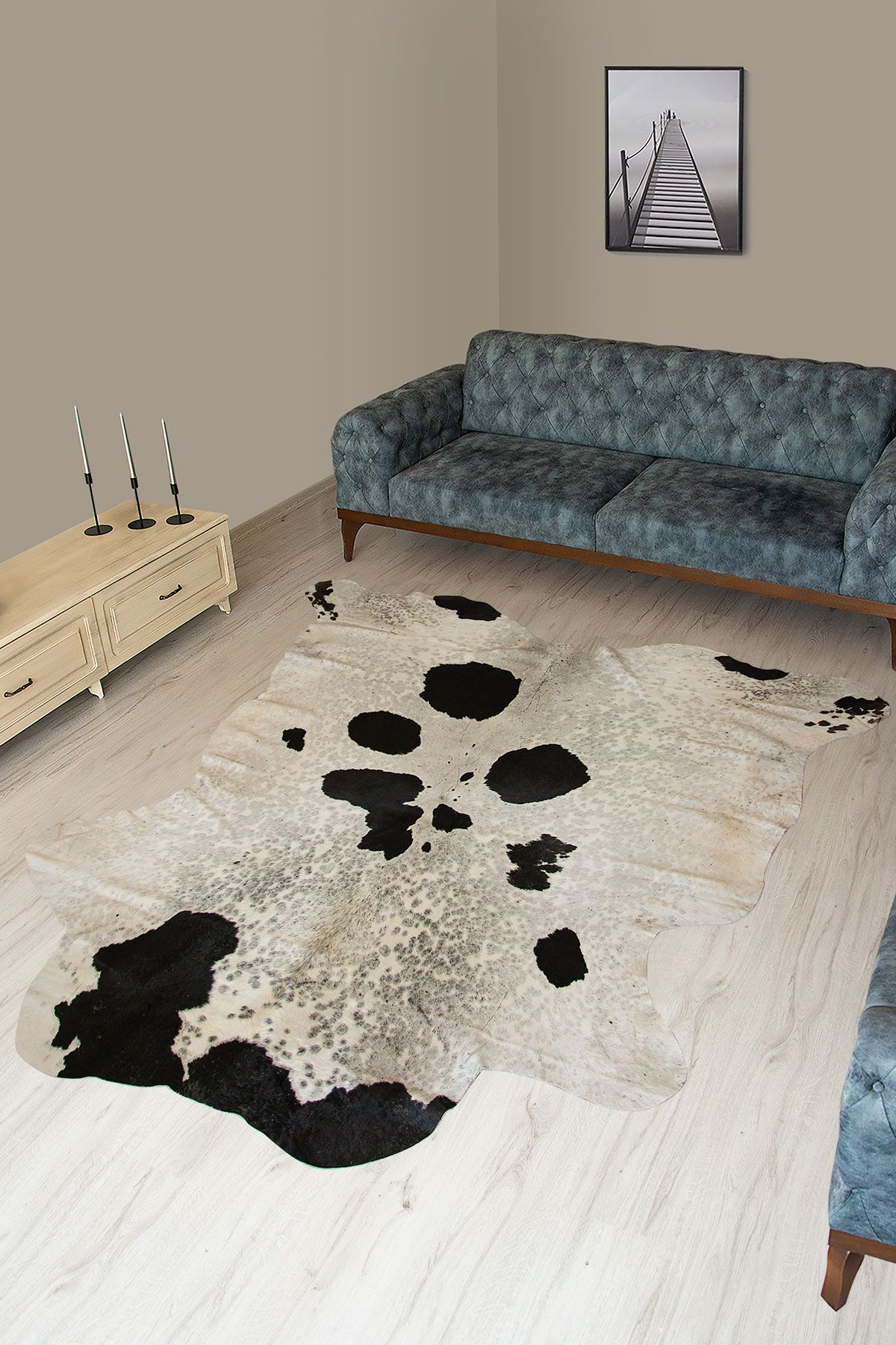 Pegia Genuine Cowhide Leather Carpet FST090 Natural
