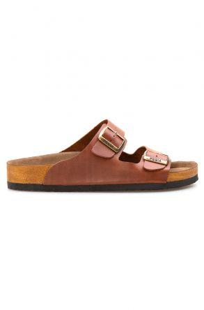 Pegia Genuine Leather Men's Slippers 215010 Ginger