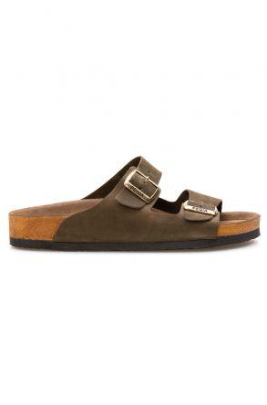 Pegia Genuine Leather Men's Slippers 215010 Khaki