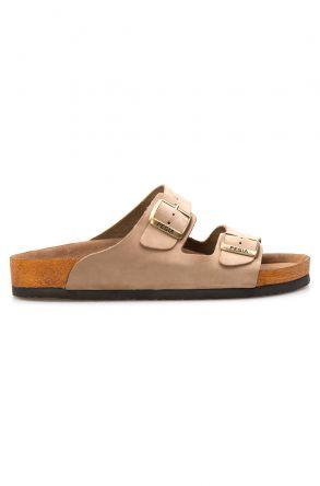 Pegia Genuine Leather Men's Slippers 215010 Beige