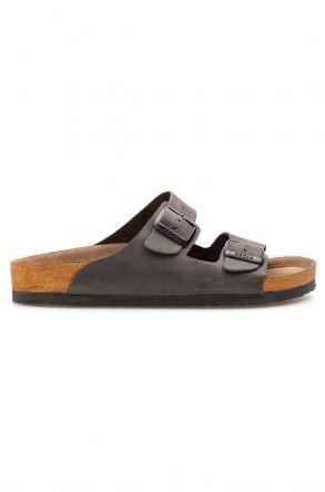 Pegia Genuine Leather Men's Slippers 215010 Anthracite-colored