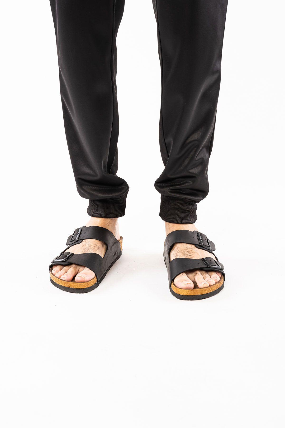 Pegia Genuine Leather Men's Slippers 215010 Black