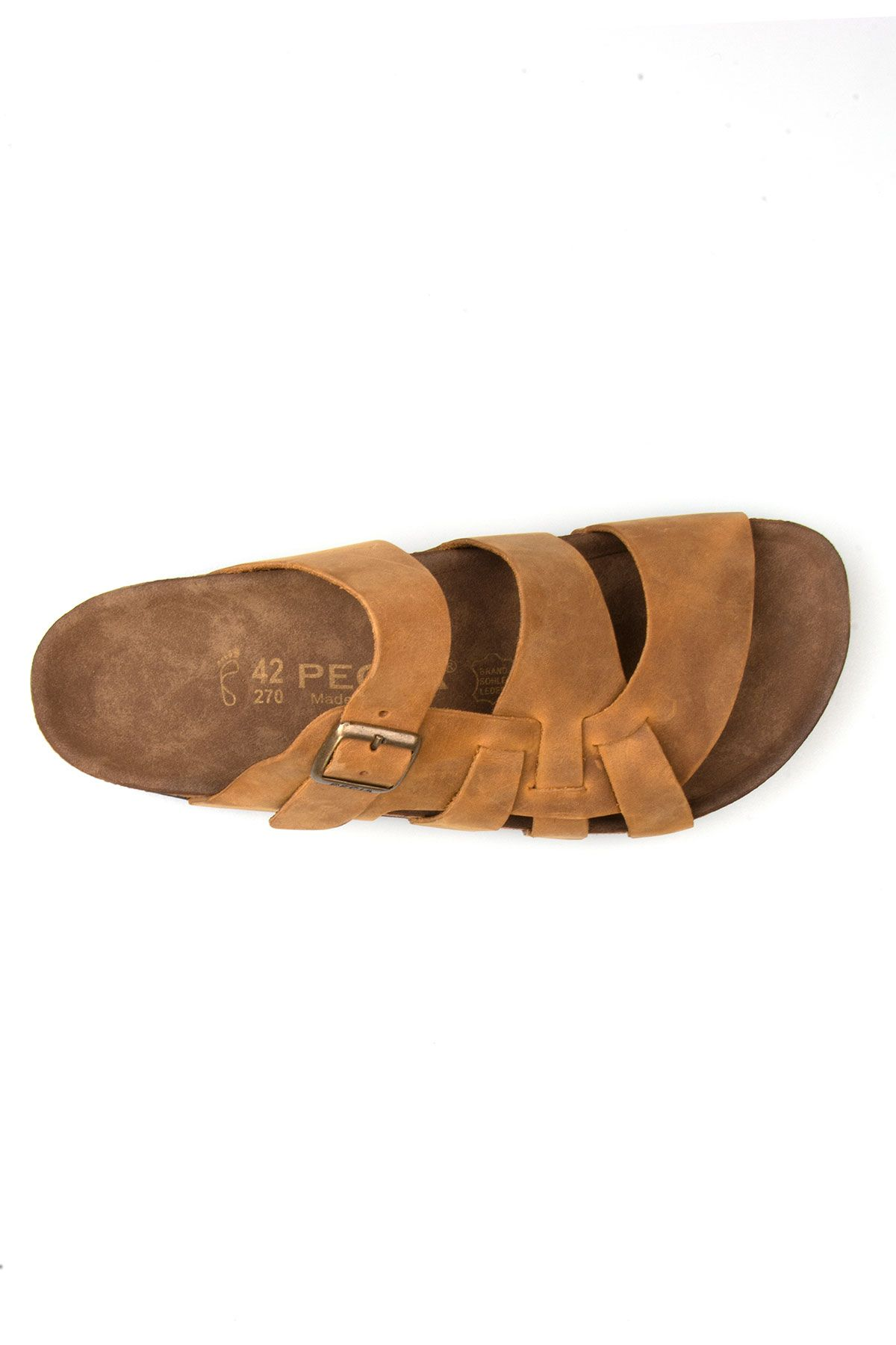 Pegia Genuine Leather Men's Slippers 215015 Sand-colored