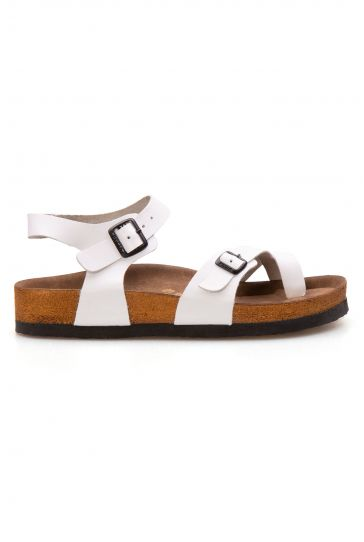 Pegia Genuine Leather Strap Women's Slippers 215512 White