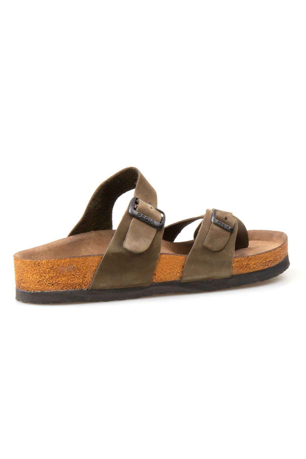 Pegia Genuine Leather Strap Women's Slippers 215512 Khaki