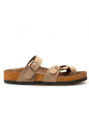 Pegia Genuine Leather Strap Women's Slippers 215512 Beige