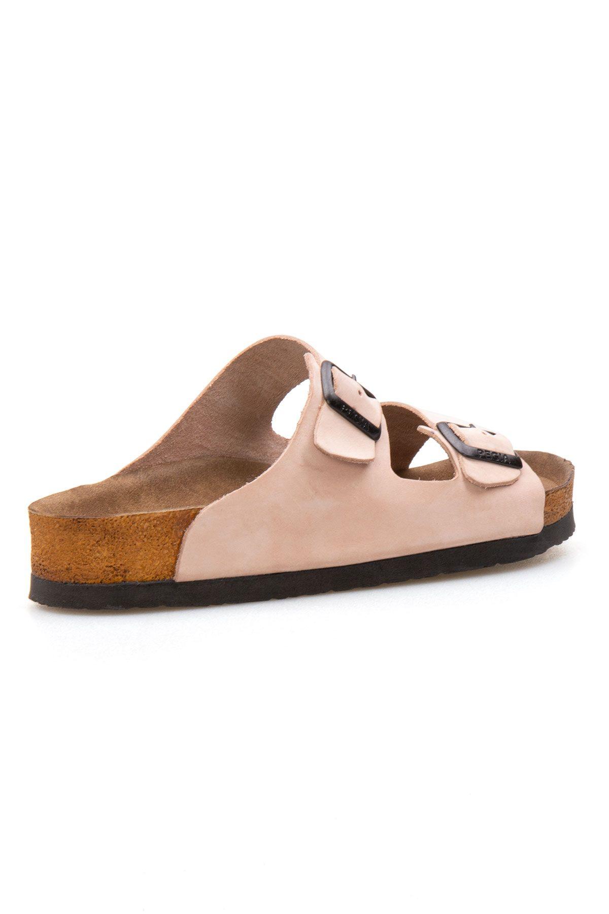 Pegia Genuine Leather Strap Women's Slippers 215510 Powdery