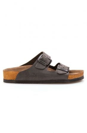 Pegia Genuine Leather Strap Women's Slippers 215510 Anthracite-colored