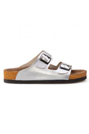 Pegia Genuine Leather Strap Women's Slippers 215510 Silver