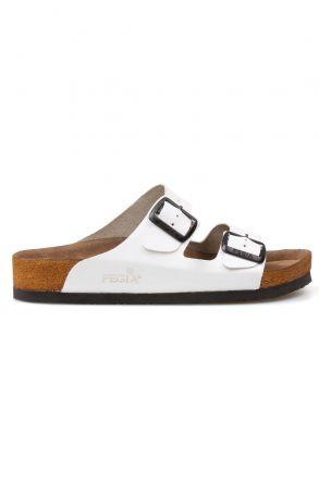 Pegia Genuine Leather Strap Women's Slippers 215510 White