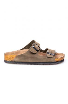 Pegia Genuine Leather Strap Women's Slippers 215510 Khaki
