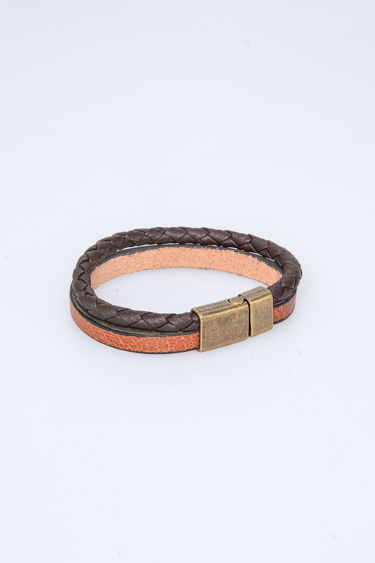 Pegia Genuine Leather Bracelet 19BL04 Brown