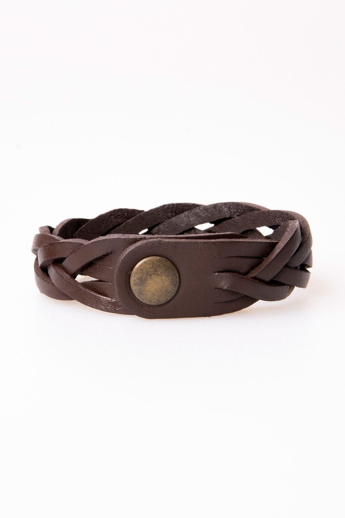 Pegia Genuine Leather Bracelet 19BL27 Brown