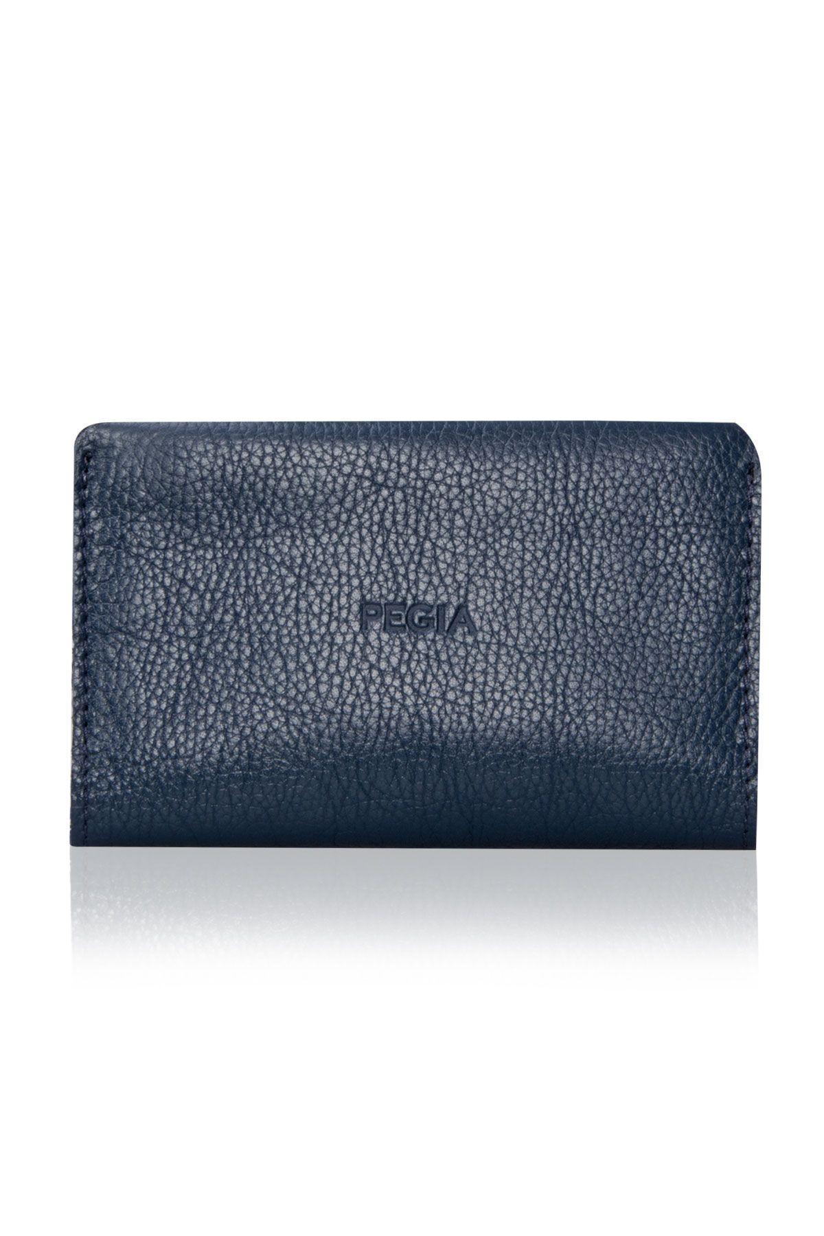 Pegia Genuine Leather Big Size Wallet 19CZ300 Navy blue