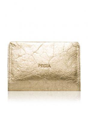 Pegia Hakiki Deri Cam Kırığı Büyük Boy Cüzdan 19CZ302 Altın