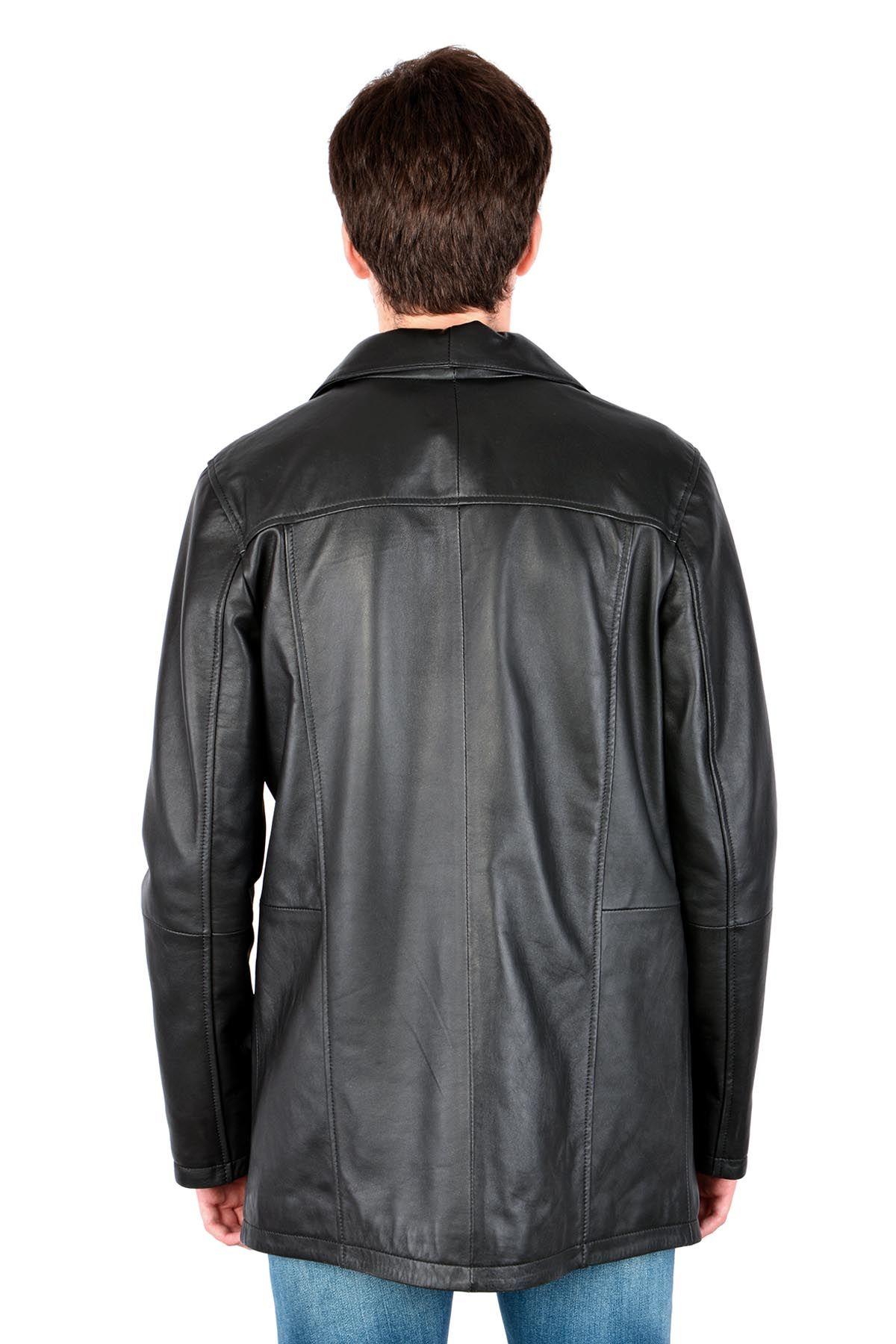 Pegia Hakiki Deri Erkek Ceket 17CE07 Siyah