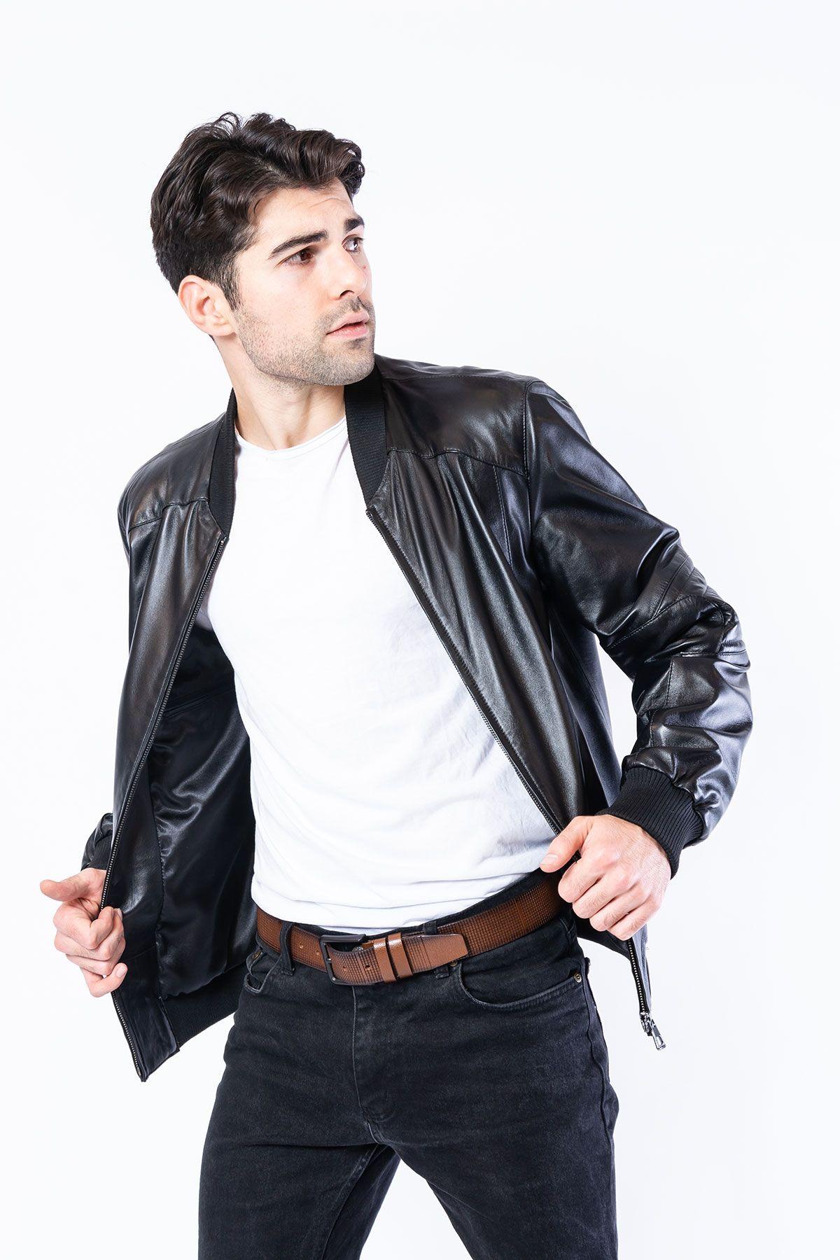 Pegia Genuine Men's Leather Jacket 19CEM01 Black