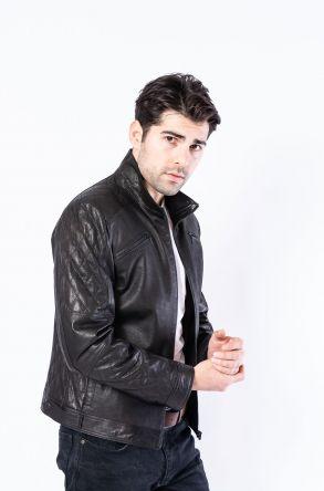 Pegia Genuine Men's Leather Jacket 19CEM03 Black