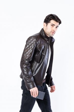 Pegia Genuine Men's Leather Jacket 19CEM03 Brown