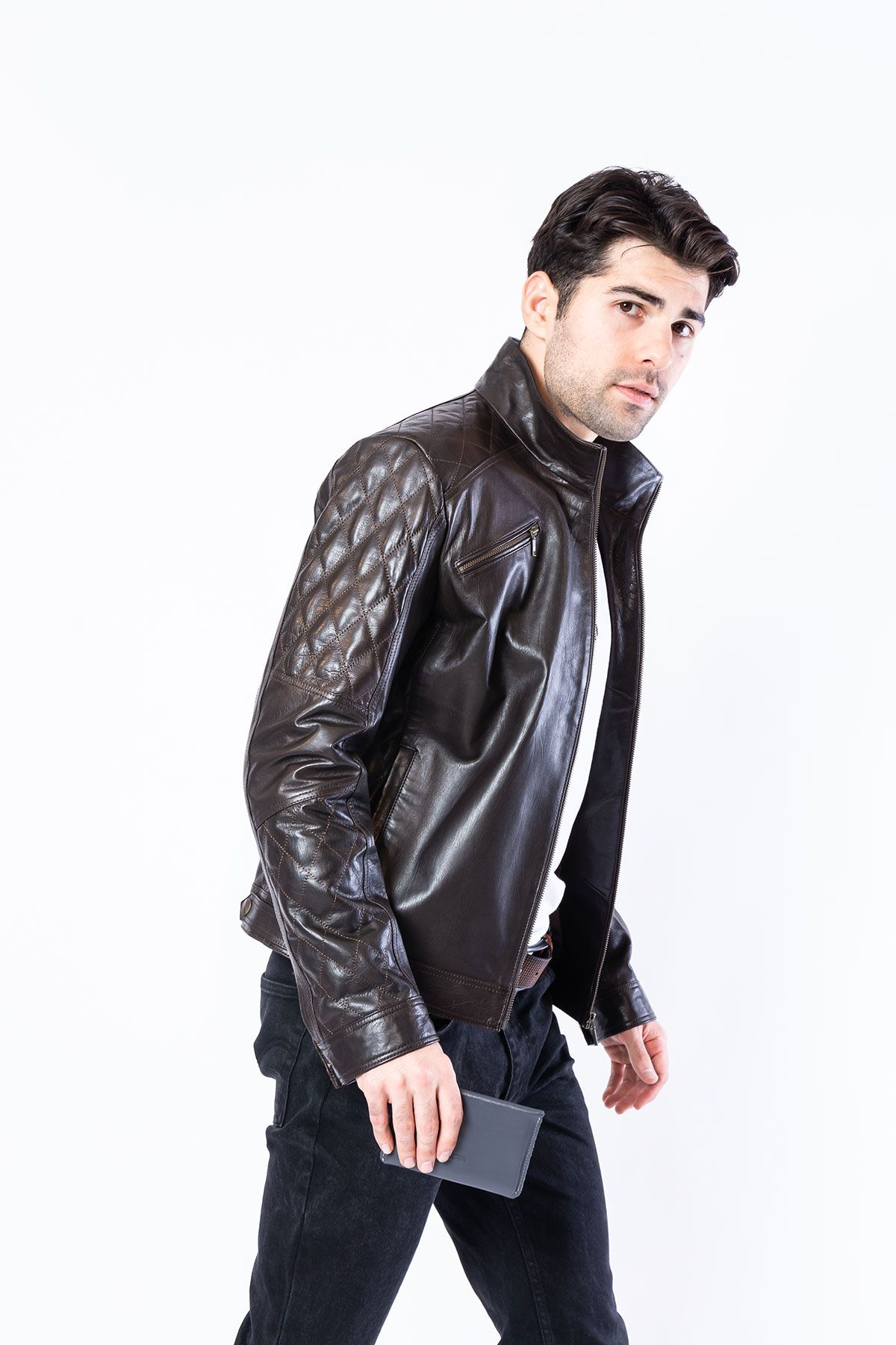 Pegia Genuine Men's Leather Jacket 19CEM03 Brown