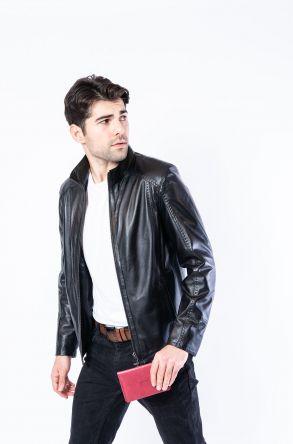 Pegia Genuine Men's Leather Jacket 19CEM04 Black