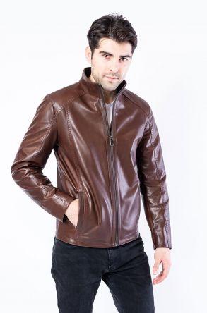 Pegia Genuine Men's Leather Jacket 19CEM04 Brown