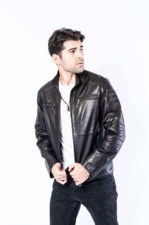 Pegia Genuine Men's Leather Jacket 19CEM05 Black