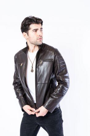 Pegia Genuine Men's Leather Jacket 19CEM05 Brown