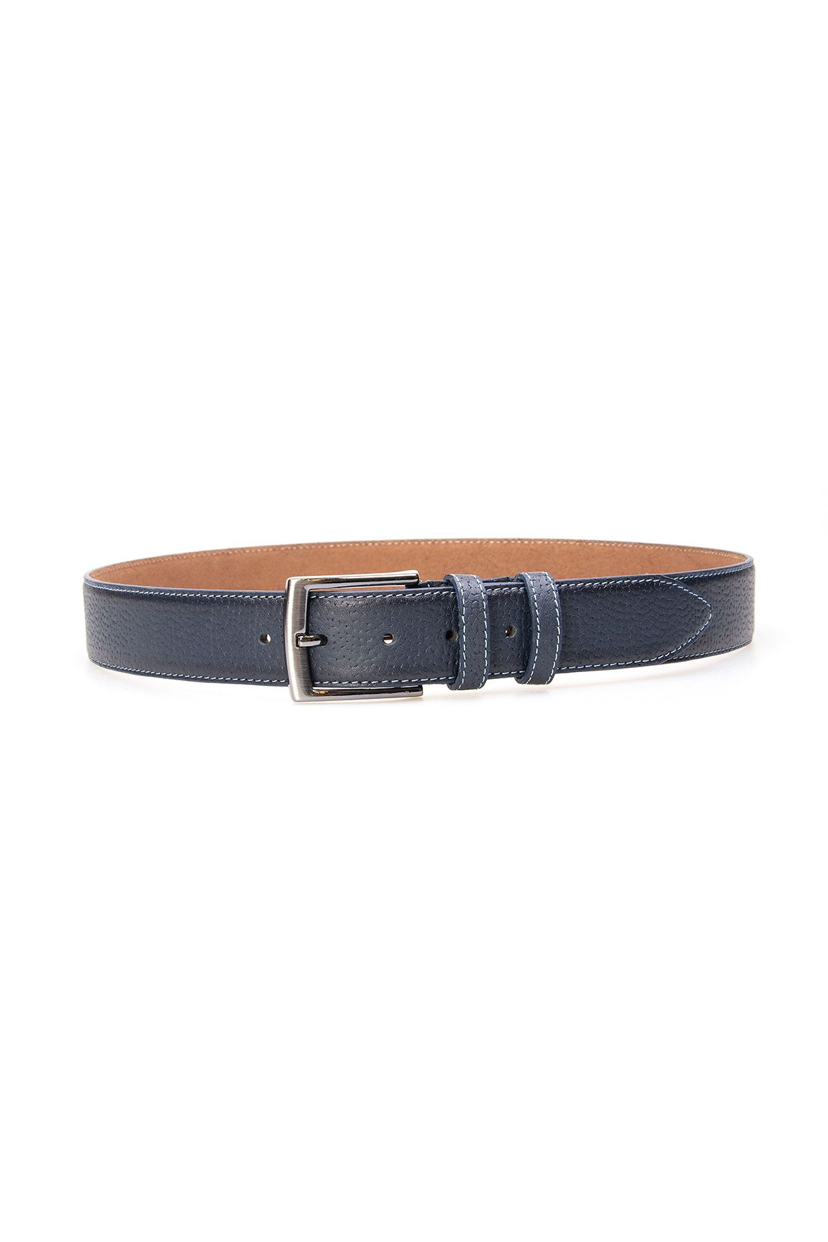 Pegia Men's Genuine Leather Belt 19KMR05 Navy blue