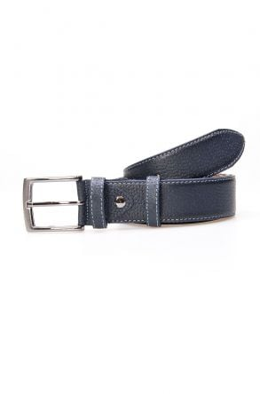 Pegia Men's Genuine Leather Belt 19KMR05 Navy blue
