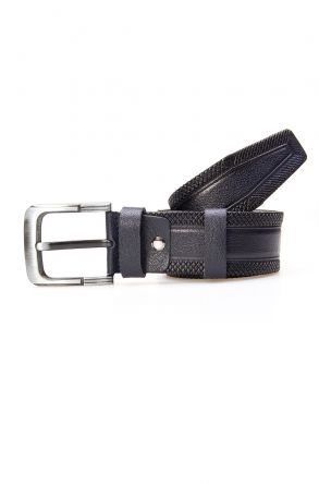 Pegia Men's Genuine Leather Belt 19KMR07 Navy blue