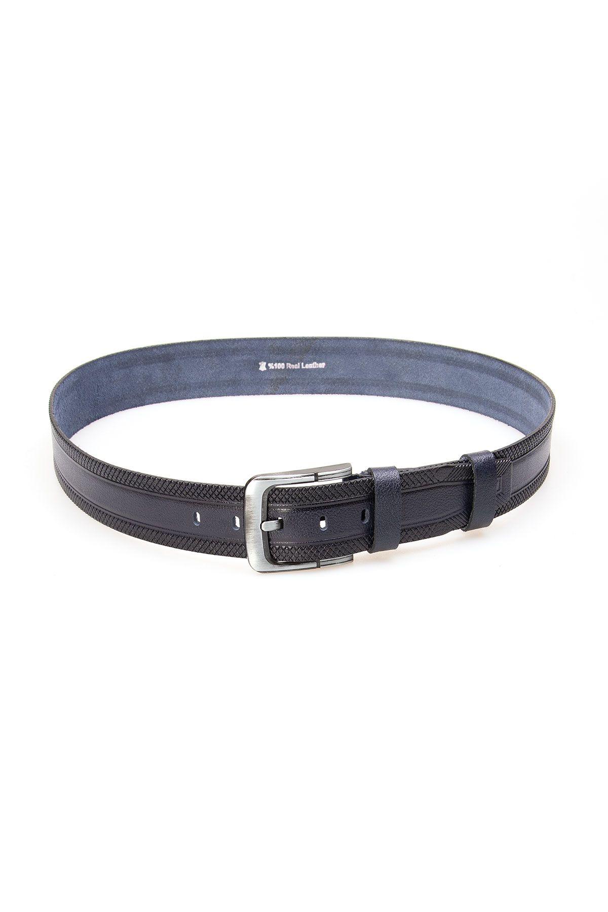 Pegia Men's Genuine Leather Belt 19KMR07 Navy blue