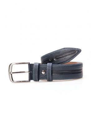 Pegia Men's Genuine Leather Belt 19KMR08 Navy blue