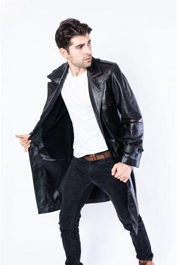 Pegia Hakiki Deri Erkek Pardesü Ceket 19CEM02 Siyah