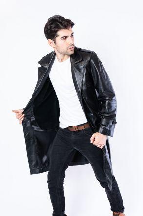 Pegia Men's Genuine Leather Overcoat 19CEM02 Black