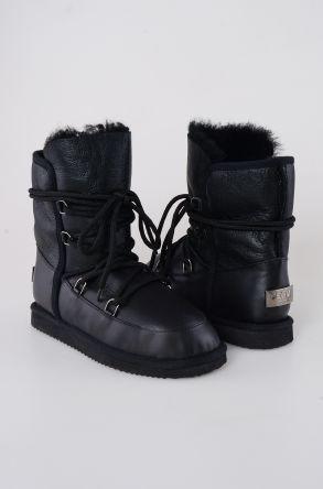 Pegia Шнурованные Женские Ботинки Из Натуральной Кожи и Овечьего Меха 191080 Черный