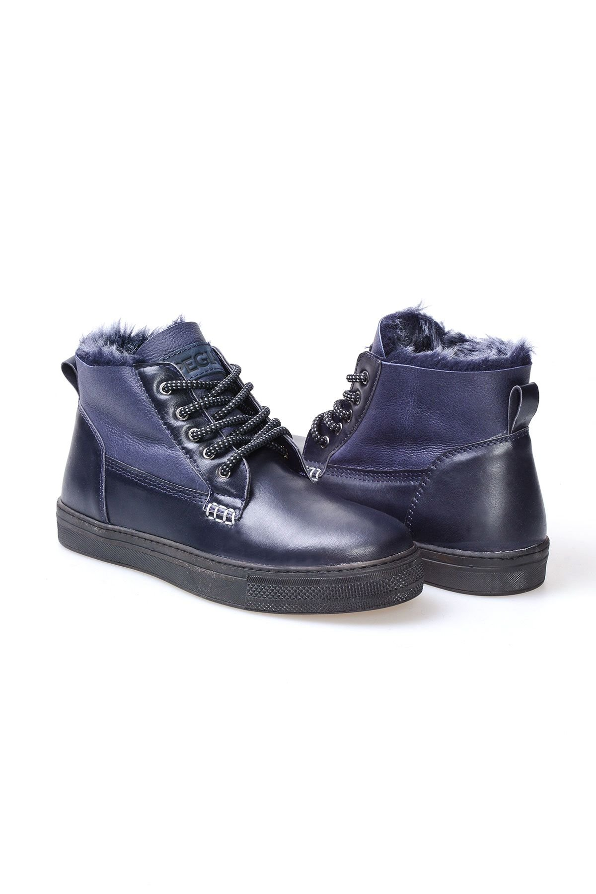 Pegia Genuine Leather & Sheepskin Lace-up Men's Boots 205003 Navy blue