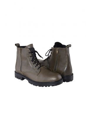 Pegia Shoelaced Genuine Leather & Shearling Men's Boots 206001 Khaki