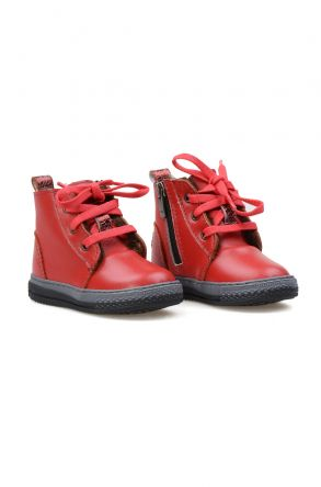 Pegia Genuine Sheepskin Lined Kid's Boots 186023 Red