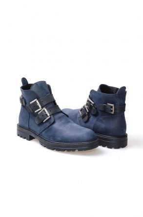 Pegia Genuine Sheepskin Men's Boots 206004 Navy blue