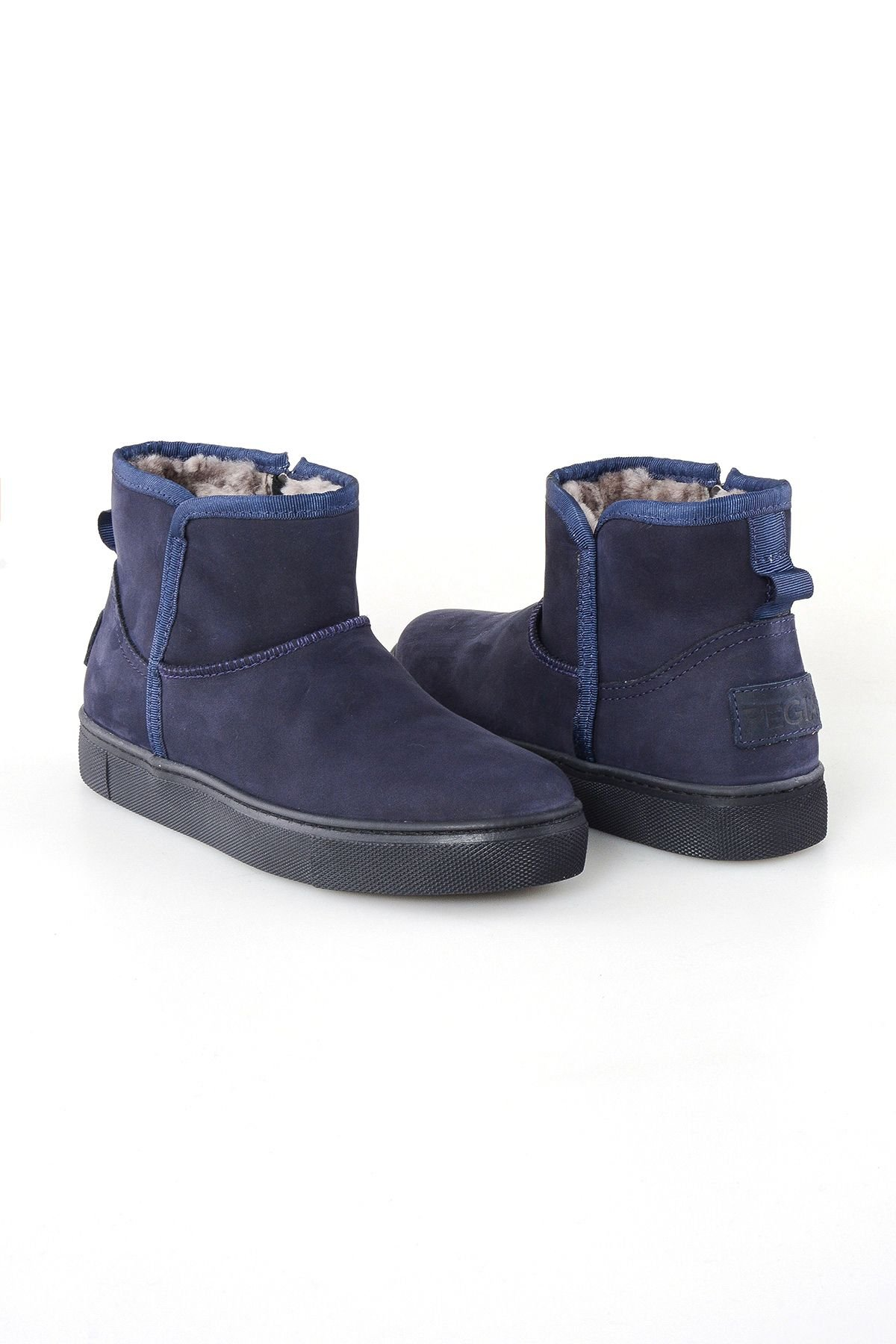 Pegia Women's Boots From Genuine Leather And Sheepskin Fur With A Zip 195010 Navy blue