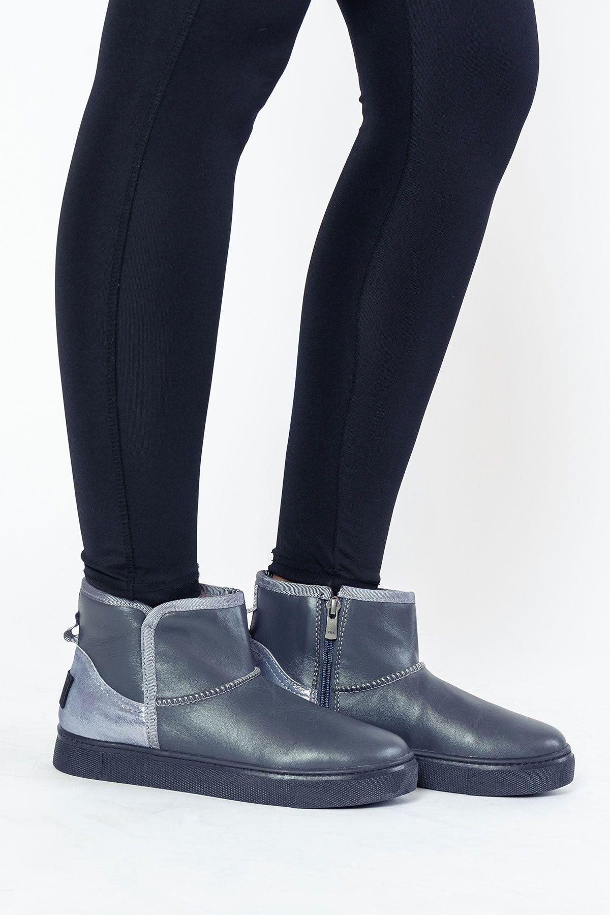 Pegia Женские Ботинки Из Натуральной Замши И Овечьего Меха На Застежке-Молнии 195015 Серый
