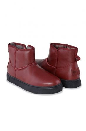 Pegia Genuine Leather & Shearling Women's Boots With A Zip 195018 Claret red