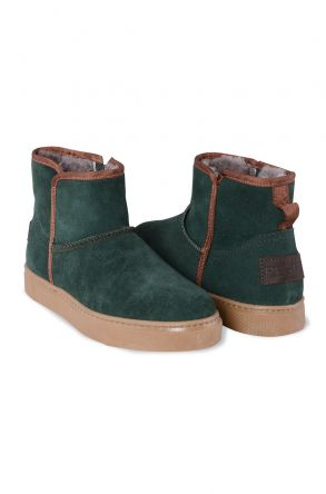 Pegia Genuine Leather & Shearling Women's Boots with a Zip 195019 Green