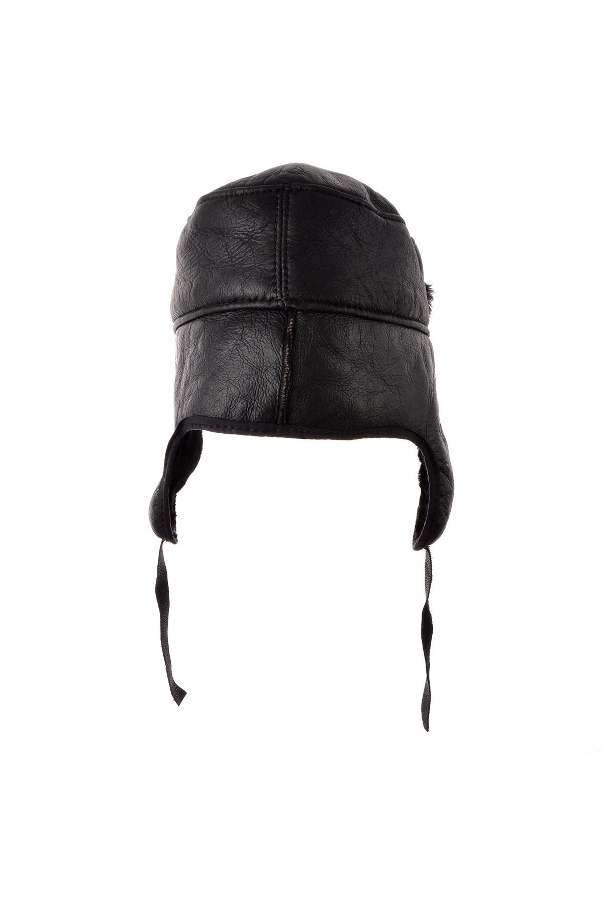 Pegia Ear-Flaps Hat From Genuine Leather And Fur Black