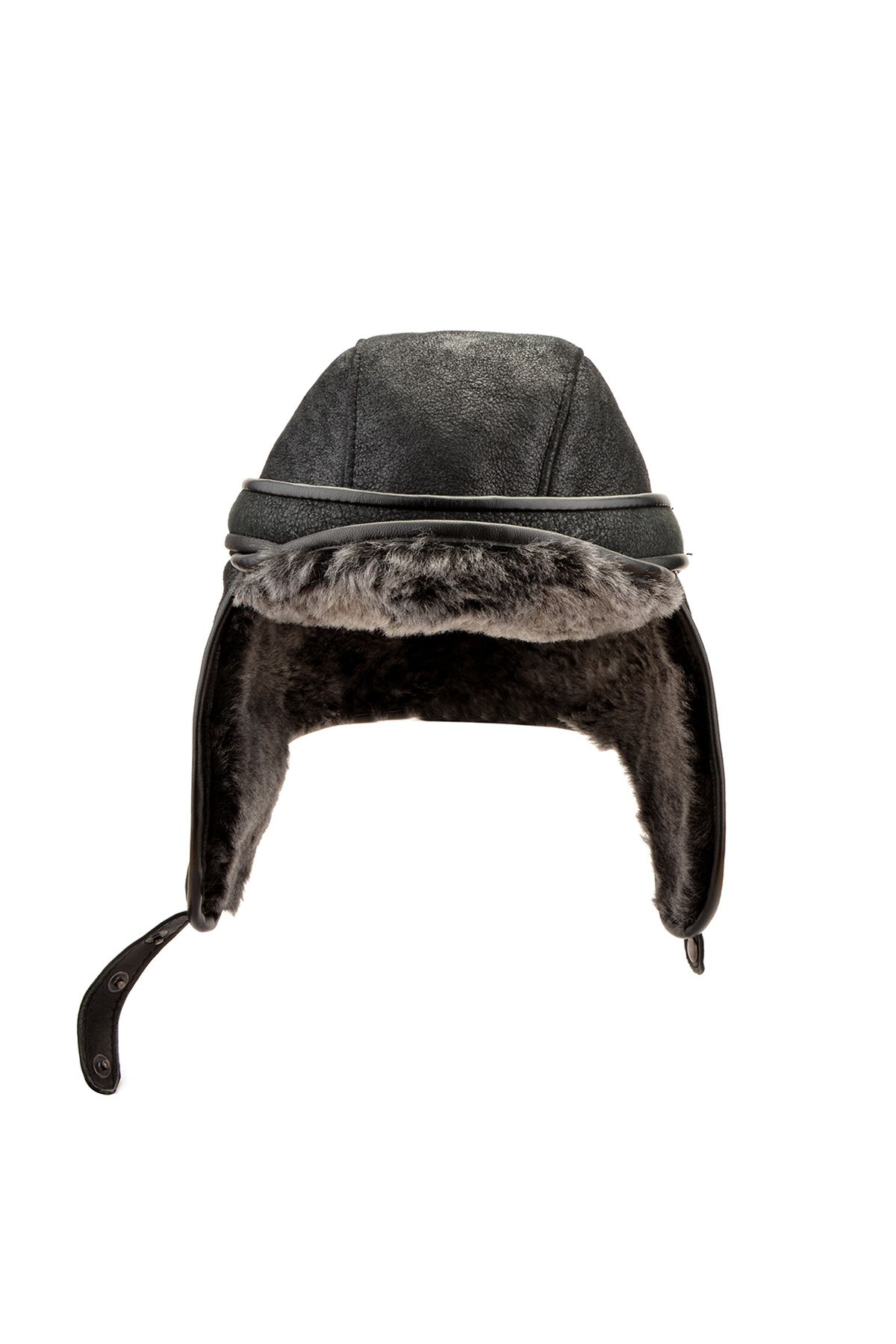 Pegia Pilot Ear-Flaps Hat From Genuine Leather And Fur Black