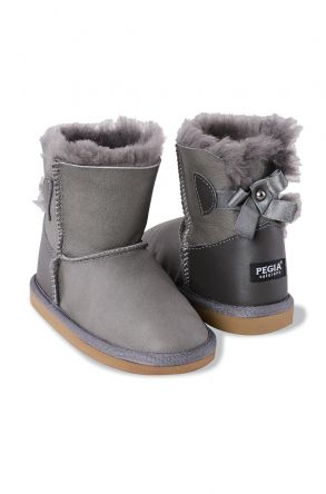 Pegia Kids From Genuine Suede And Sheepskin Fur With Bow 181063 Gray