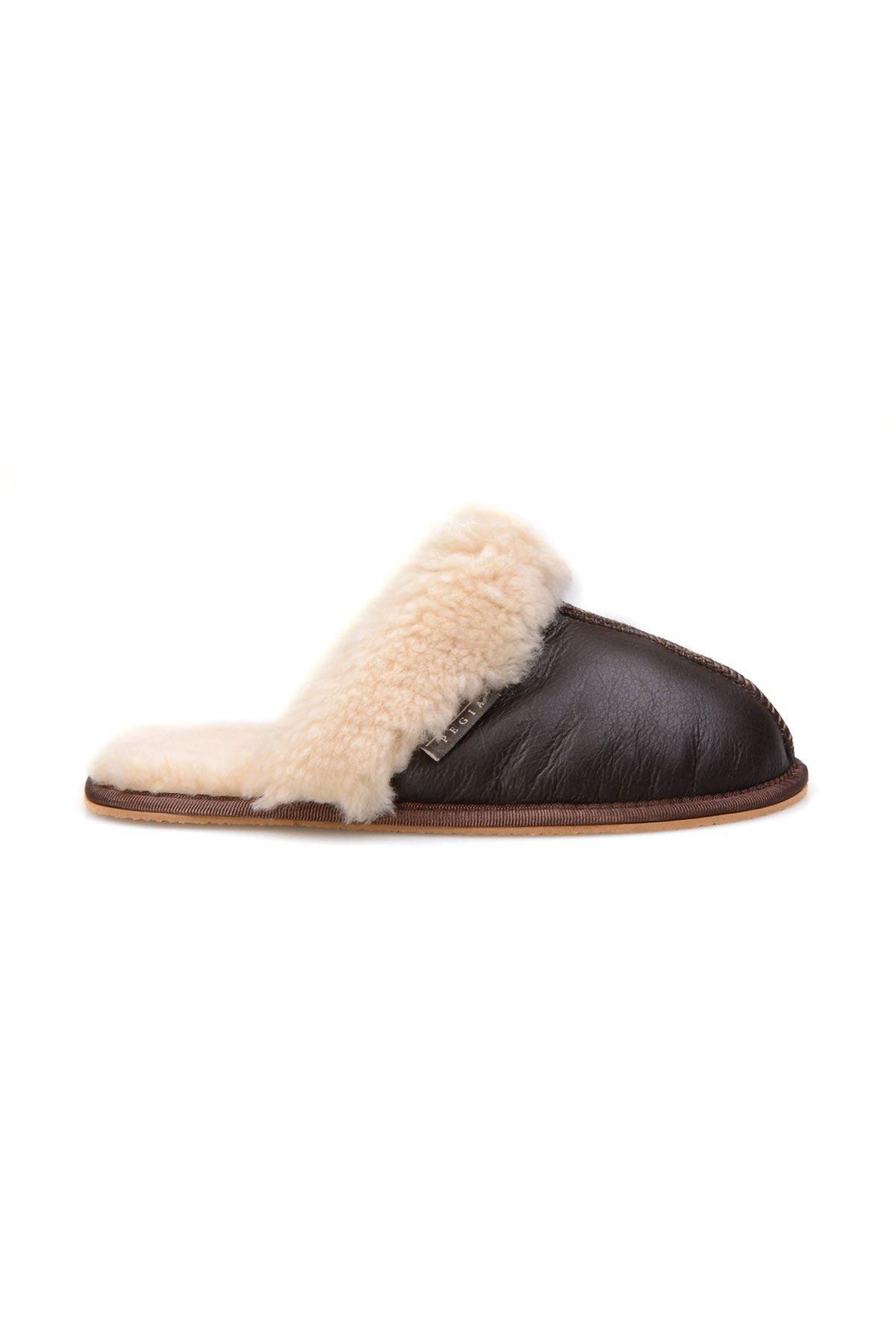 Pegia Genuine Sheepskin Women's House Slippers 191103 Brown