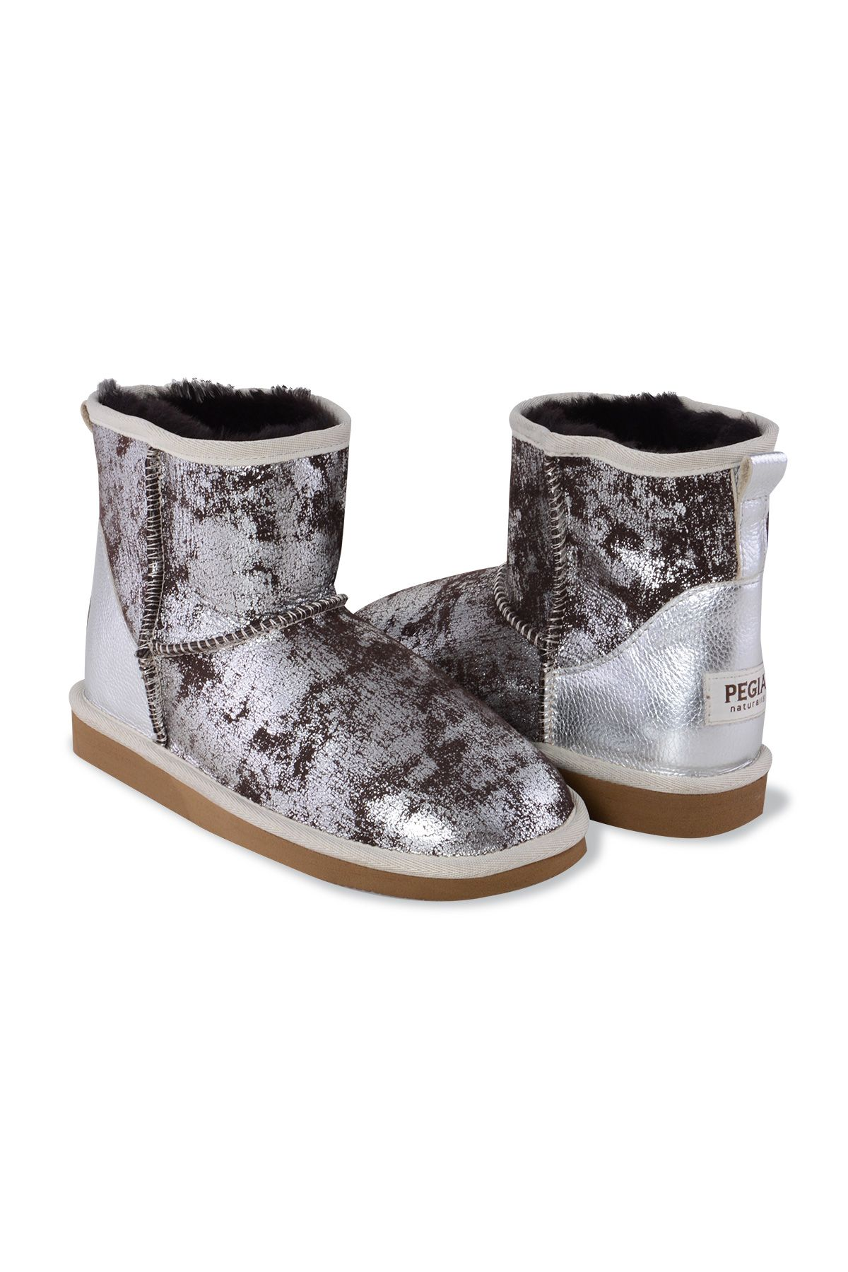 Pegia Genuine Leather & Shearling Short Women's Boots 980404 Silver